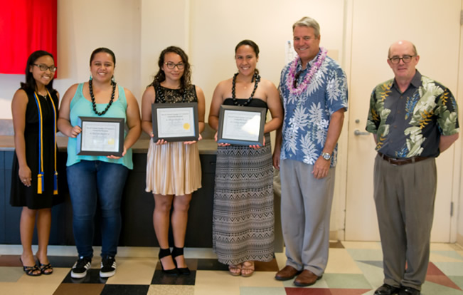 Hawaii Island Chamber of Commerce Scholarship recipients along with Chuck Erskine of Hawaii Island Chamber of Commerce and Dr. Terrance Jalbert, CoBE Professor of Finance